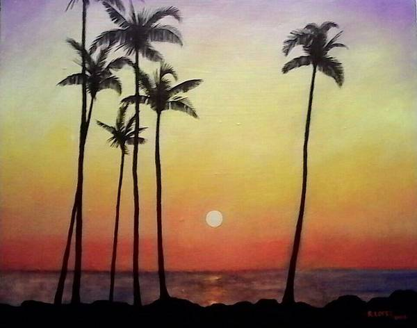 Sunset Poster featuring the painting Sunset by Ramon Lopez Collazo