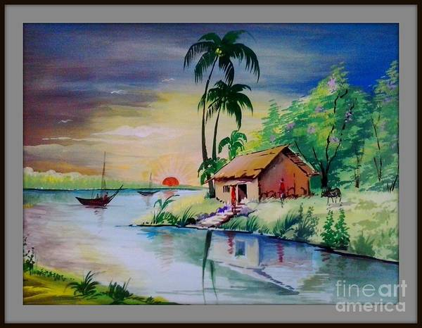 sunset time poster colour painting poster by sanjay wagh