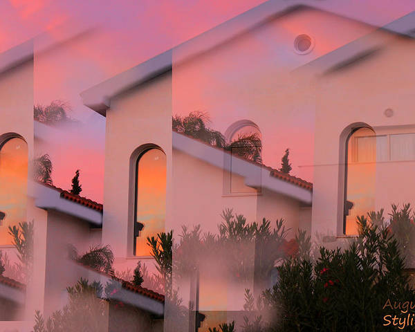 Sunset Poster featuring the digital art Sunsets On Houses by Augusta Stylianou