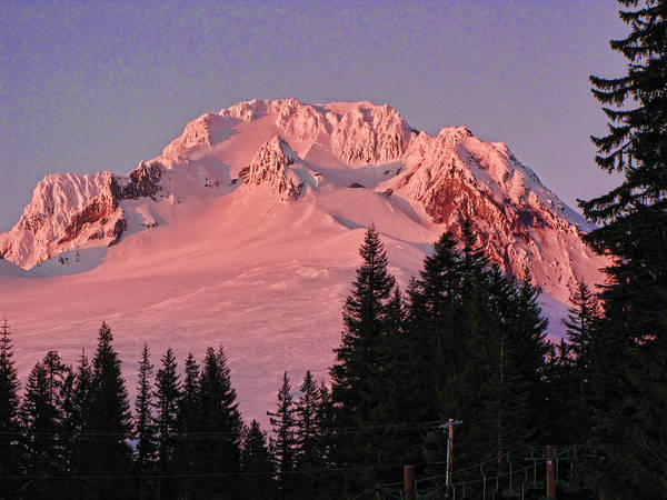 Mount Hood Poster featuring the photograph Sunsetting On Mount Hood Oregon 1 by Helaine Cummins