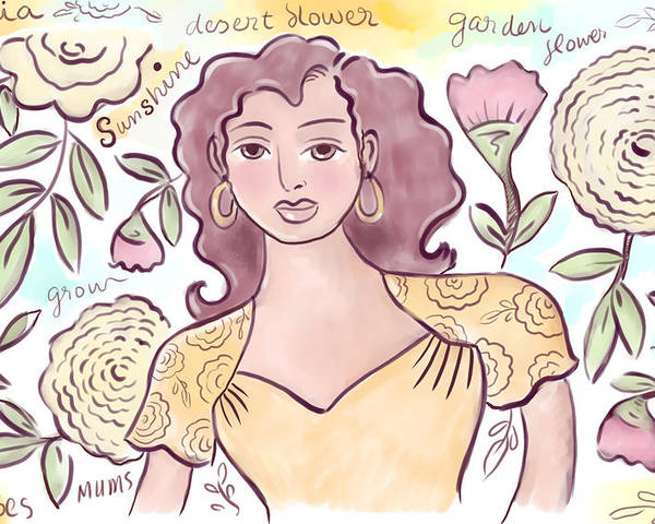 Woman Poster featuring the digital art Sunshine Flowers by Elaine Jackson