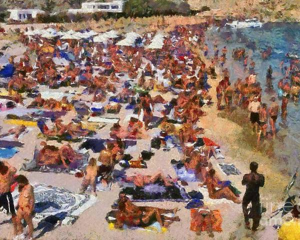 Mykonos; Mikonos; Beach; Super Paradise; Greece; Hellas; Cyclades; Kyklades; Greek; Hellenic; Aegean; Islands; Sand; Sea; Island; People; Tourists; Swimming; Swim; Sunbathing; Suntanning; Suntan; Tanning; Relaxing; Relaxation; Crowd; Crowded; Full; Populous; Umbrellas; Sunshades; Parasols; Sun Beds; Sea Beds; Holidays; Vacation; Travel; Trip; Voyage; Journey; Tourism; Touristic; Summer; Sunny; Paint; Painting; Paintings Poster featuring the painting Super Paradise Beach In Mykonos Island by George Atsametakis