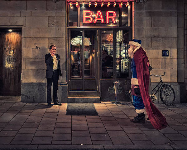 Street Poster featuring the photograph Supersanta by Martin Johansson