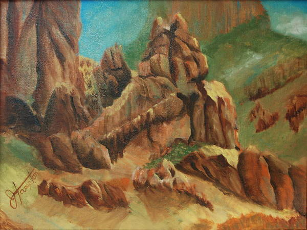 Arizona Poster featuring the painting Superstitions I by Jack Hampton