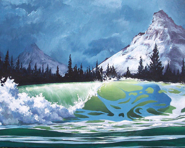 Wave Poster featuring the painting Surf and Snow by Philip Fleischer