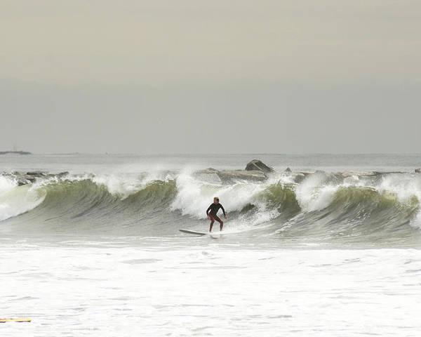 Surf Poster featuring the photograph Surfer Beach 91st St Rockaway Queens by Maureen E Ritter