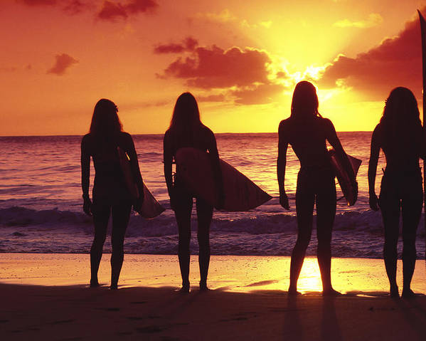 Surfer Poster featuring the photograph Surfer Girl Silhouettes by Sean Davey