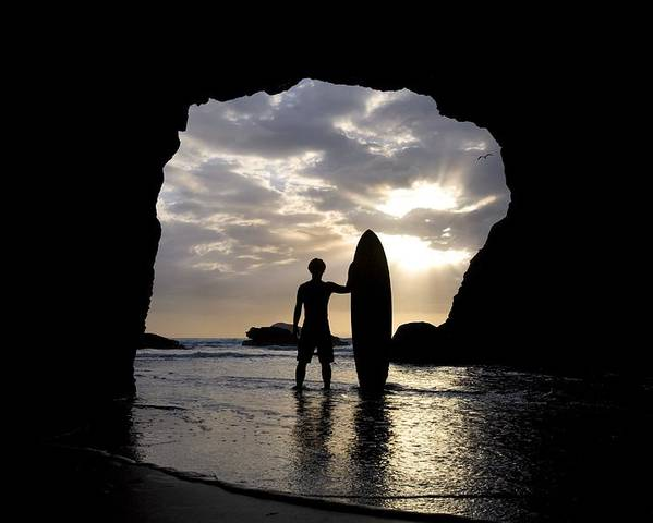 Horizon Poster featuring the photograph Surfer Inside A Cave At Muriwai New by Deddeda