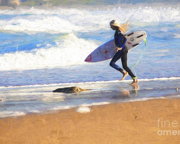 Surfer Poster featuring the photograph Surfing girl by Sheila Smart Fine Art Photography