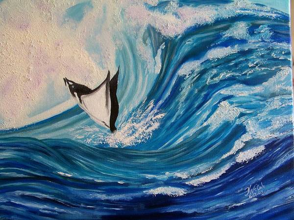 Ocean Poster featuring the painting Surfing Stingray II by Kathern Ware