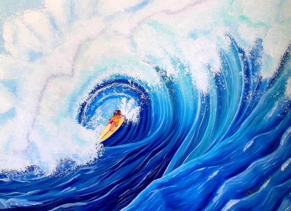 Wave Poster featuring the painting Surfing the Maverick Wave by Kathern Ware