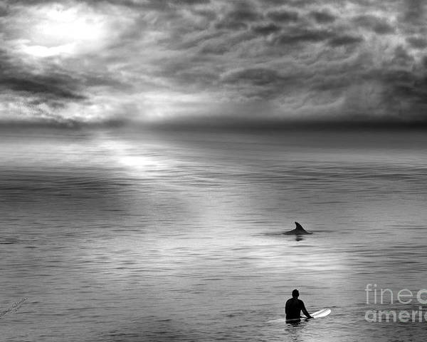 Dolphins Poster featuring the photograph Surfing With The Dolphin by Artist and Photographer Laura Wrede
