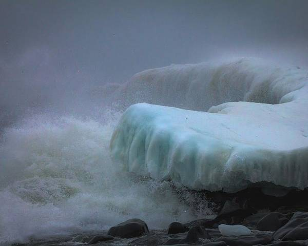 lake Superior stoney Point Ice Splash Storm Nature north Shore Frozen Blizzard Snowstorm greeting Cards mary Amerman surging Sea Poster featuring the photograph Surging Sea by Mary Amerman