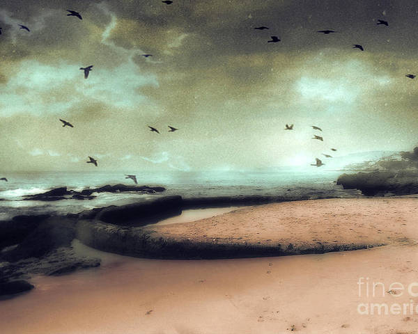 Surreal Fantasy Nature Poster featuring the photograph Surreal Dreamy Ocean Beach Birds Sky Nature by Kathy Fornal