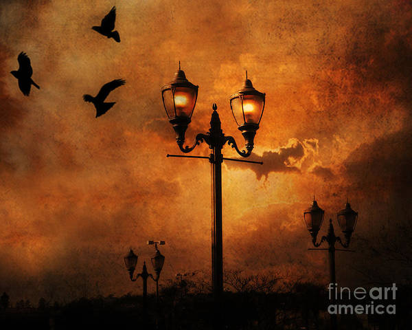 Raven Crow Art Poster featuring the photograph Surreal Fantasy Gothic Night Lanterns Ravens by Kathy Fornal
