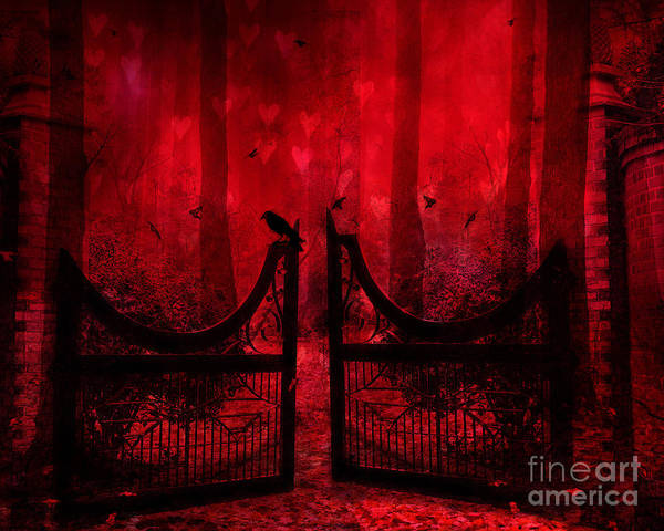 Raven Crow Art Poster featuring the photograph Surreal Fantasy Gothic Red Forest Crow On Gate by Kathy Fornal