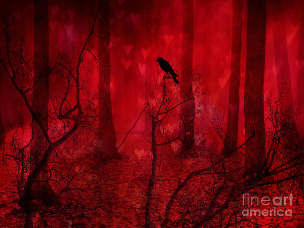 Raven Crow Art Poster featuring the photograph Surreal Fantasy Gothic Red Woodlands Raven Trees by Kathy Fornal