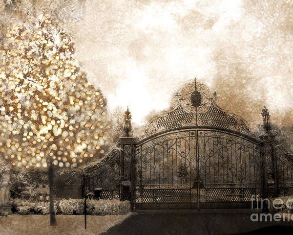Surreal Nature Photos Poster featuring the photograph Surreal Fantasy Haunting Gate With Sparkling Tree by Kathy Fornal