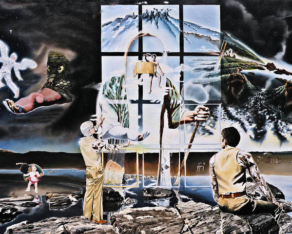 Surreal Poster featuring the painting Surreal Windows Of Allegory by Dave Martsolf