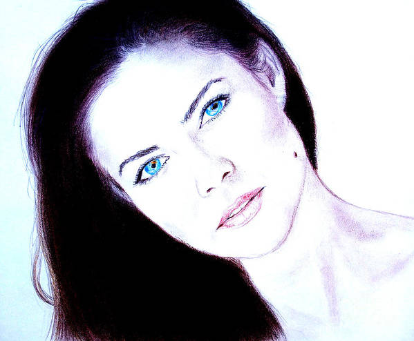 Model Poster featuring the drawing Susan Ward Blue Eyed Beauty With A Mole II by Jim Fitzpatrick