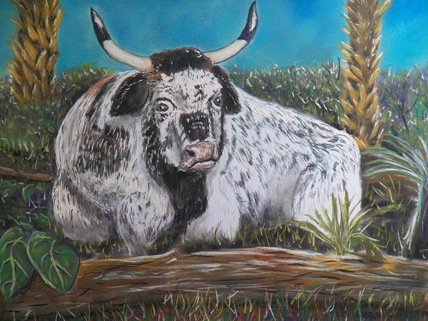 Cracker Bull Poster featuring the pastel Swamp Bull by Richard Goohs