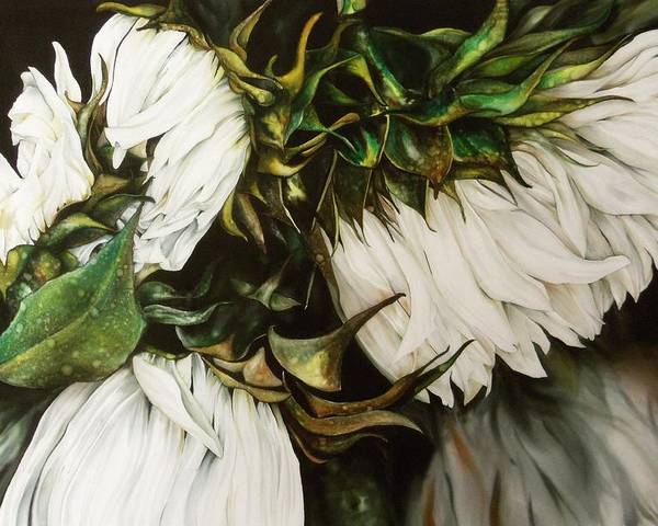 White Poster featuring the painting Swan Song by Tina Gleave