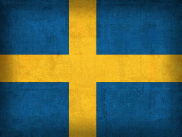 Sweden Flag Vintage Distressed Finish Poster featuring the mixed media Sweden Flag Vintage Distressed Finish by Design Turnpike
