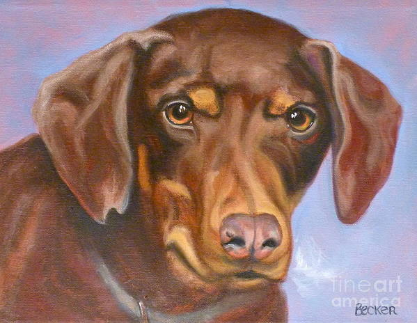 Dog Poster featuring the painting Sweetest Rescue by Susan A Becker