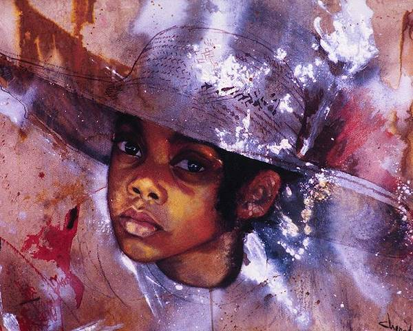 Child Poster featuring the painting Sweetpea by Cheryl Foster