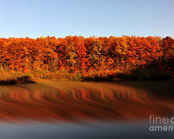 Fall Poster featuring the photograph Swirling Reflections With Fall Colors by Dan Friend