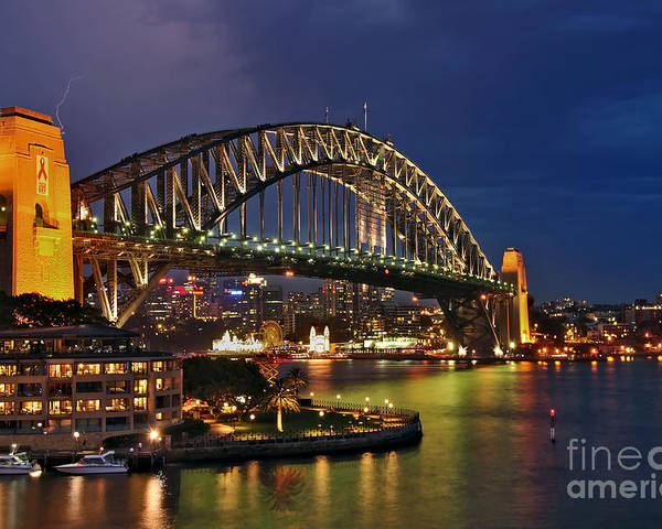 Photography Poster featuring the photograph Sydney Harbour Bridge By Night by Kaye Menner