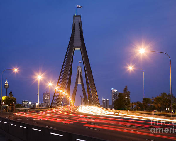 Traffic Poster featuring the photograph Sydney Traffic And Anzac Bridge At Twilight by Colin and Linda McKie