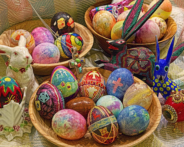 Easter; Cross; Crosses; Crucifixion; Jesus Christ; Jesus; Christ; Christian; Holiday; Holidays; Spiritual; Secular; Symbol; Symbols; Symbolism; Symbolic; Rabbit; Rabbits; Bunny; Bunnies; Easter Bunny; Egg; Eggs; Dyed; Colored; Decorated; Pysanka; Ukrainian; Mexican; Folk Art; Porcelain; Bowl; Bowls; Turned Bowl; Turned Bowls; Wooden Bowl; Wooden Bowls;spiritual;secular;photograph;photographs;photography;gary Holmes;gary; Holmes;horizontal Format;landscape;long Exposure;hdr Poster featuring the photograph Symbols Of Easter- Spiritual And Secular by Gary Holmes