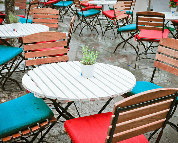 Al Fresco Poster featuring the photograph Tables And Chairs by Tom Gowanlock