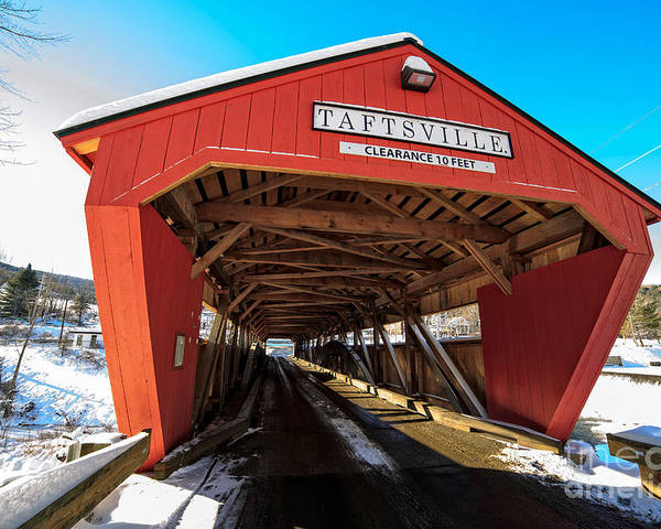 Span Poster featuring the photograph Taftsville Covered Bridge In Vermont In Winter by Edward Fielding