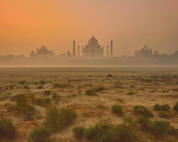 Architecture Poster featuring the photograph Taj Mahal At Dusk by