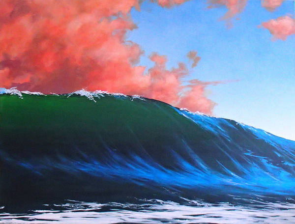 Wave Poster featuring the painting Take a left at Sunset by Philip Fleischer