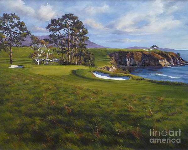 Pebble Beach Golf Links Poster featuring the painting Taking The Fifth by Shelley Cost