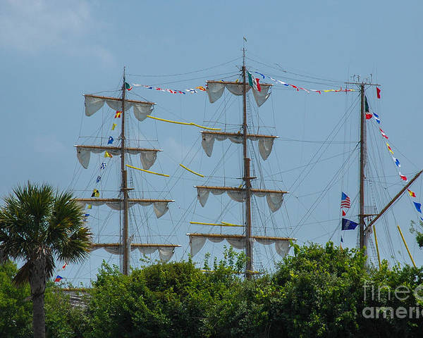 Tall Ship Poster featuring the photograph Tall Ship Mast Charleston by Dale Powell
