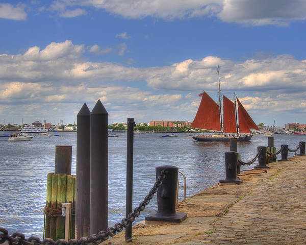 Sailing Poster featuring the photograph Tall Ship The Roseway In Boston Harbor by Joann Vitali