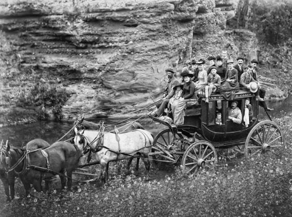Coach Poster featuring the photograph Tallyho Stagecoach Party C. 1889 by Daniel Hagerman