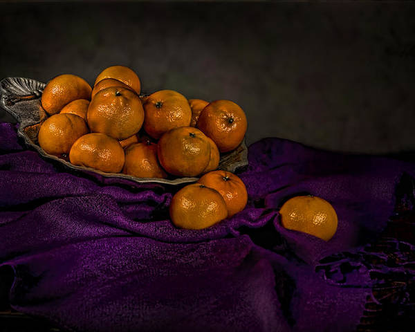 Food Poster featuring the photograph Tangerines In A Shell Platter by Leah McDaniel
