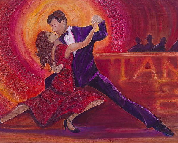 Man Poster featuring the painting Tango by Debi Starr