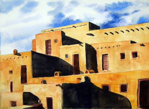 Pubelo Poster featuring the painting Taos Pueblo by Sam Sidders