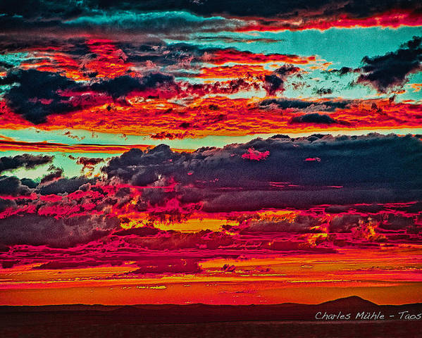 Taos Poster featuring the photograph Taos Sunset Xix by Charles Muhle