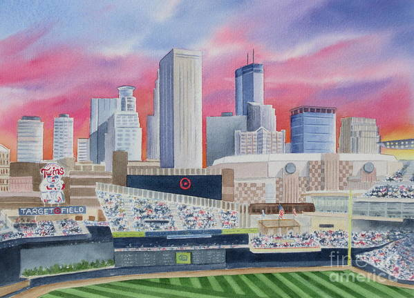 Target Field Poster featuring the painting Target Field by Deborah Ronglien