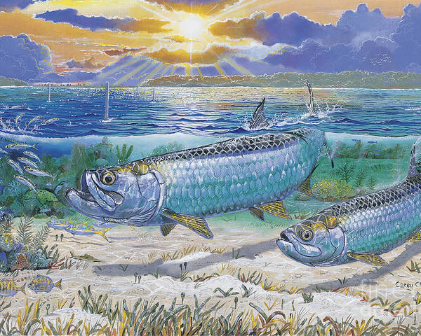 Tarpon Poster featuring the painting Tarpon Cut In0011 by Carey Chen