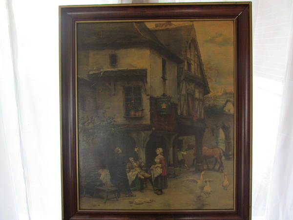 Oil Paintings Poster featuring the painting Tavern Outdoor Scene by Tina M Wenger