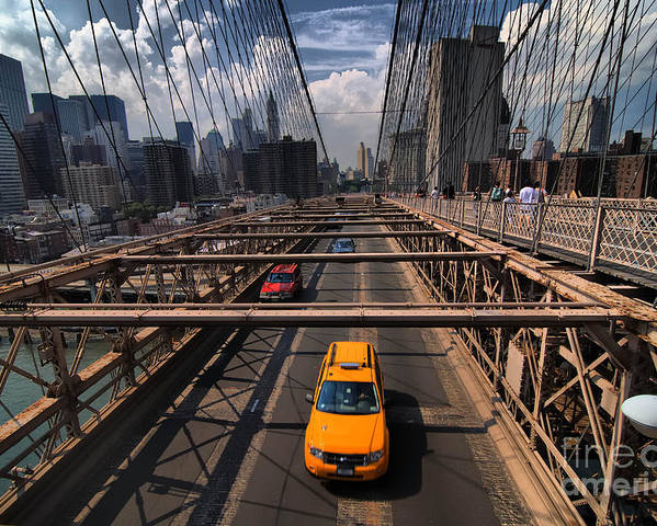 Bridge Poster featuring the photograph Taxi Crossing The Brooklyn Bridge by Amy Cicconi