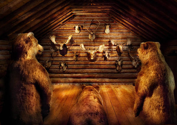 Hdr Poster featuring the photograph Taxidermy - Home Of The Three Bears by Mike Savad